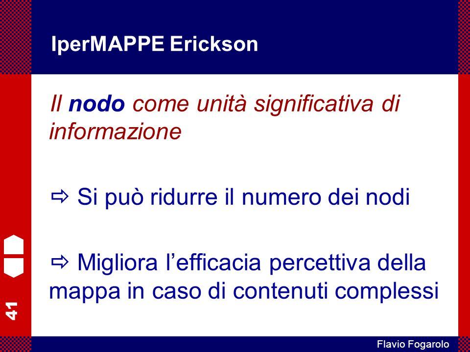 41 Flavio Fogarolo IperMAPPE Erickson Il nodo come unità significativa di informazione Si può ridurre il numero dei nodi Migliora lefficacia percettiv
