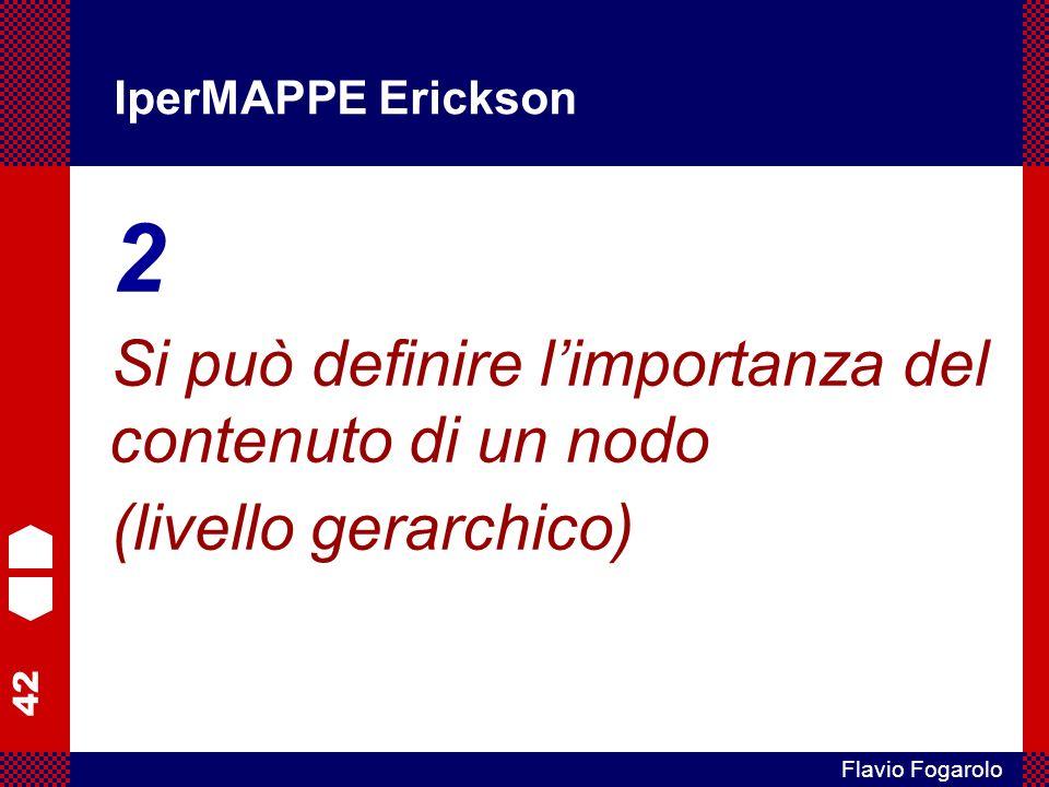 42 Flavio Fogarolo IperMAPPE Erickson 2 Si può definire limportanza del contenuto di un nodo (livello gerarchico)
