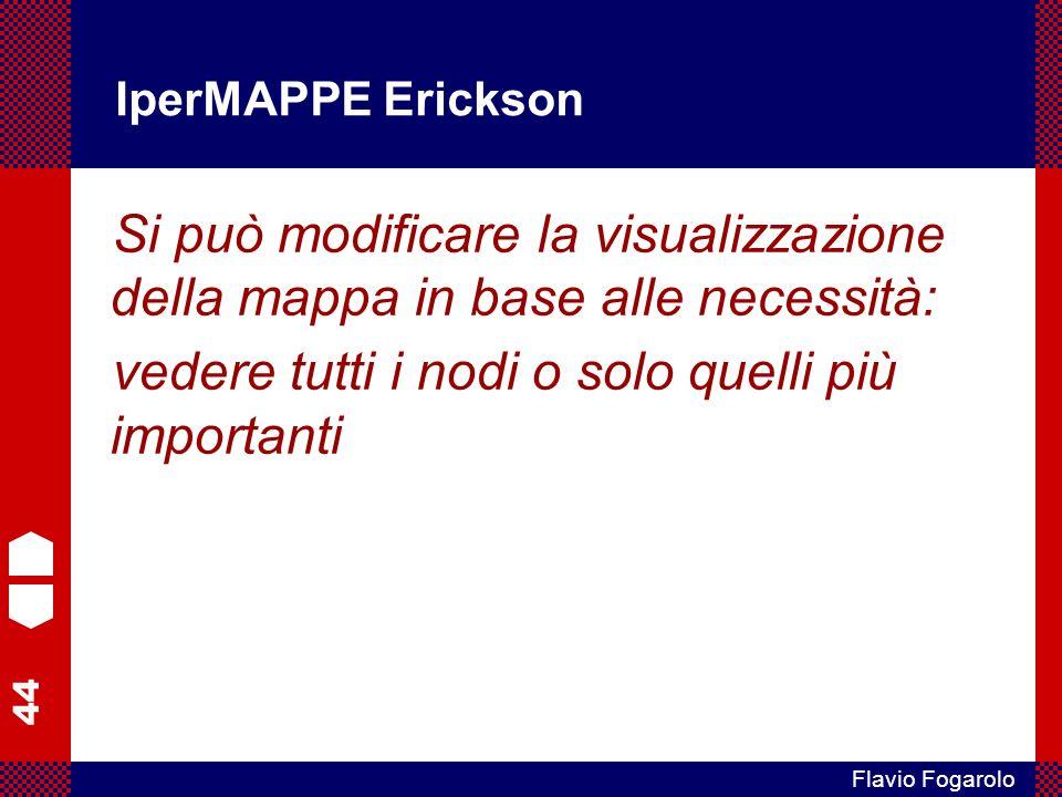 44 Flavio Fogarolo IperMAPPE Erickson Si può modificare la visualizzazione della mappa in base alle necessità: vedere tutti i nodi o solo quelli più i