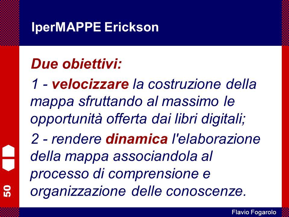 50 Flavio Fogarolo IperMAPPE Erickson Due obiettivi: 1 - velocizzare la costruzione della mappa sfruttando al massimo le opportunità offerta dai libri