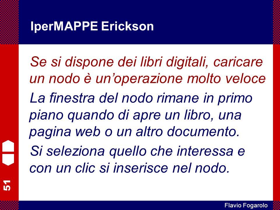 51 Flavio Fogarolo IperMAPPE Erickson Se si dispone dei libri digitali, caricare un nodo è unoperazione molto veloce La finestra del nodo rimane in pr