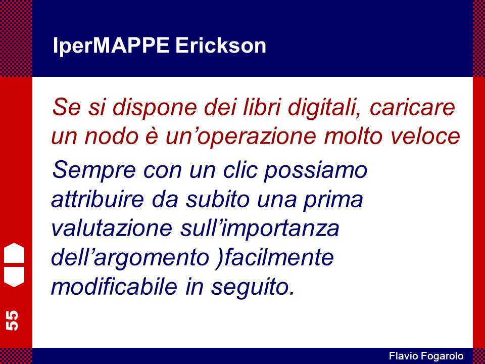 55 Flavio Fogarolo IperMAPPE Erickson Se si dispone dei libri digitali, caricare un nodo è unoperazione molto veloce Sempre con un clic possiamo attri