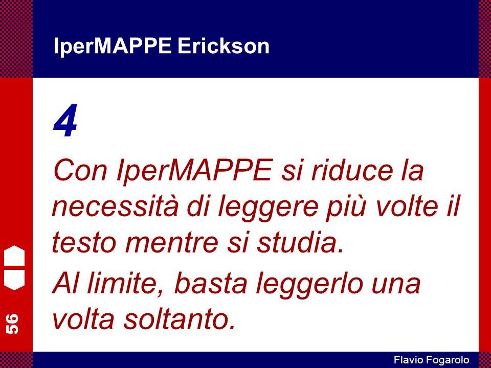 56 Flavio Fogarolo IperMAPPE Erickson 4 Con IperMAPPE si riduce la necessità di leggere più volte il testo mentre si studia. Al limite, basta leggerlo