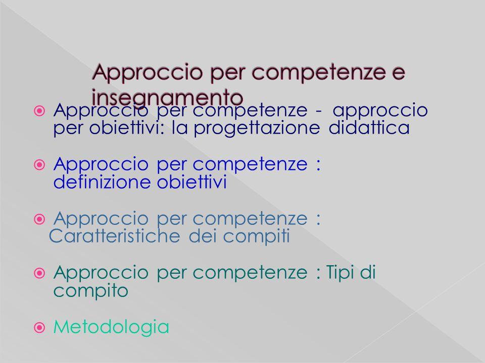 Approccio per competenze - approccio per obiettivi: la progettazione didattica Approccio per competenze : definizione obiettivi Approccio per competenze : Caratteristiche dei compiti Approccio per competenze : Tipi di compito Metodologia