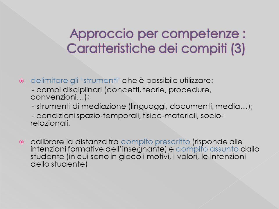 delimitare gli strumenti che è possibile utilizzare: - campi disciplinari (concetti, teorie, procedure, convenzioni…); - strumenti di mediazione (linguaggi, documenti, media…); - condizioni spazio-temporali, fisico-materiali, socio- relazionali.