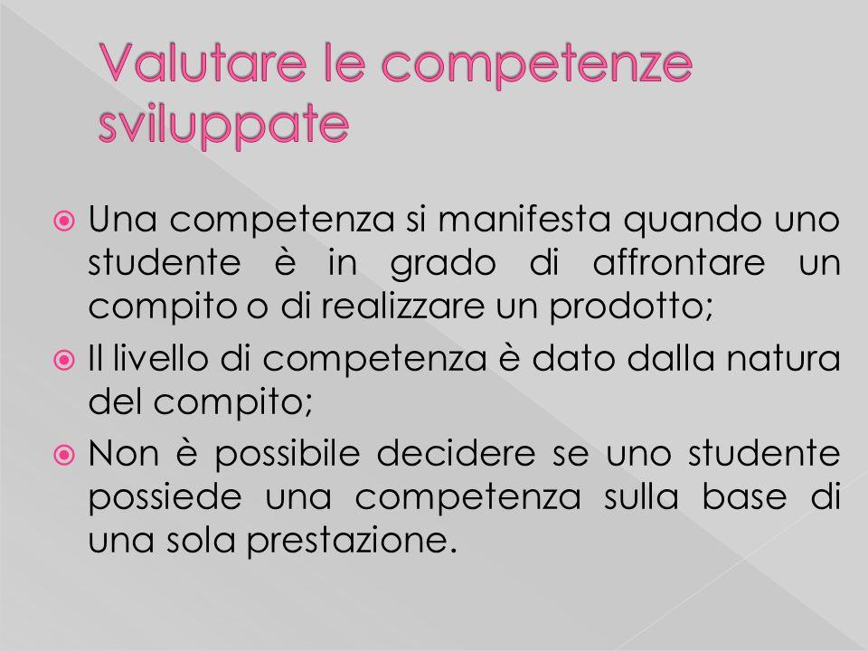 Una competenza si manifesta quando uno studente è in grado di affrontare un compito o di realizzare un prodotto; Il livello di competenza è dato dalla natura del compito; Non è possibile decidere se uno studente possiede una competenza sulla base di una sola prestazione.