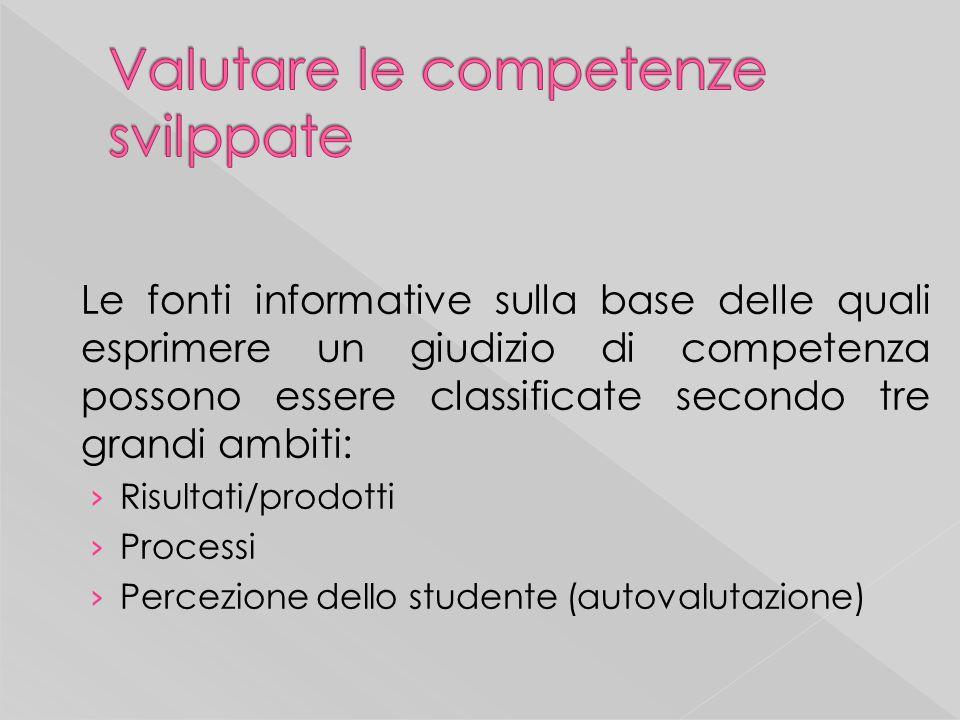 Le fonti informative sulla base delle quali esprimere un giudizio di competenza possono essere classificate secondo tre grandi ambiti: Risultati/prodotti Processi Percezione dello studente (autovalutazione)