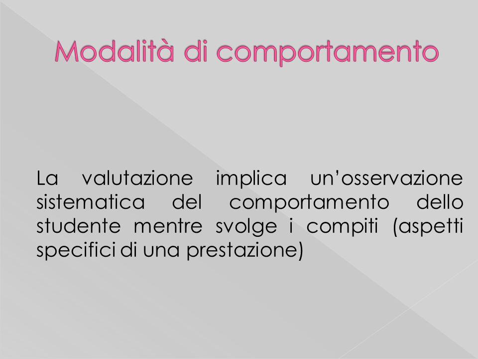 La valutazione implica unosservazione sistematica del comportamento dello studente mentre svolge i compiti (aspetti specifici di una prestazione)