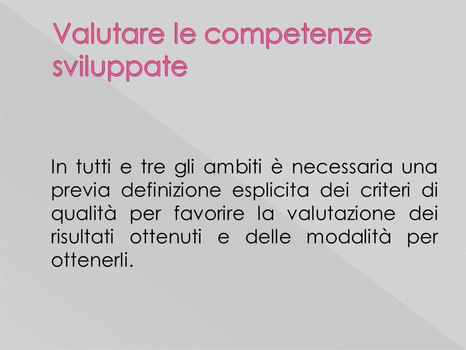 In tutti e tre gli ambiti è necessaria una previa definizione esplicita dei criteri di qualità per favorire la valutazione dei risultati ottenuti e delle modalità per ottenerli.