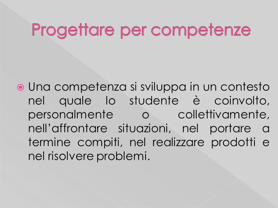 Una competenza si sviluppa in un contesto nel quale lo studente è coinvolto, personalmente o collettivamente, nellaffrontare situazioni, nel portare a termine compiti, nel realizzare prodotti e nel risolvere problemi.