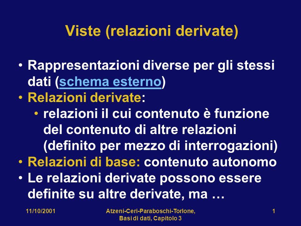11/10/2001Atzeni-Ceri-Paraboschi-Torlone, Basi di dati, Capitolo 3 1 Viste (relazioni derivate) Rappresentazioni diverse per gli stessi dati (schema e