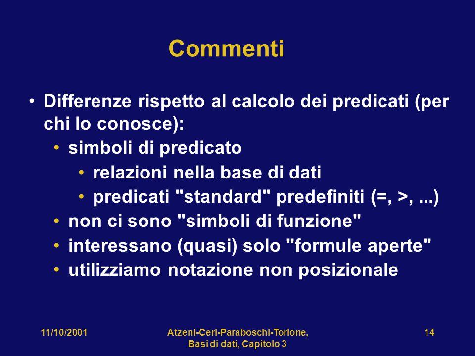 11/10/2001Atzeni-Ceri-Paraboschi-Torlone, Basi di dati, Capitolo 3 14 Commenti Differenze rispetto al calcolo dei predicati (per chi lo conosce): simb