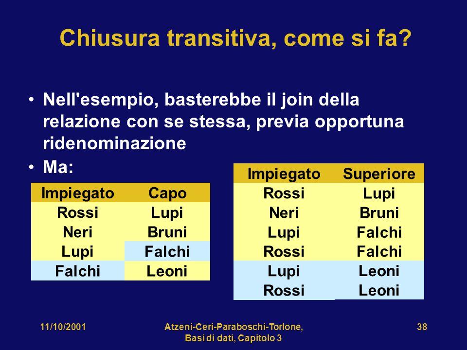 11/10/2001Atzeni-Ceri-Paraboschi-Torlone, Basi di dati, Capitolo 3 38 Chiusura transitiva, come si fa? Nell'esempio, basterebbe il join della relazion