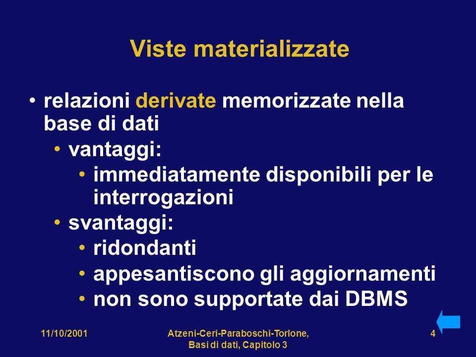 11/10/2001Atzeni-Ceri-Paraboschi-Torlone, Basi di dati, Capitolo 3 4 Viste materializzate relazioni derivate memorizzate nella base di dati vantaggi: