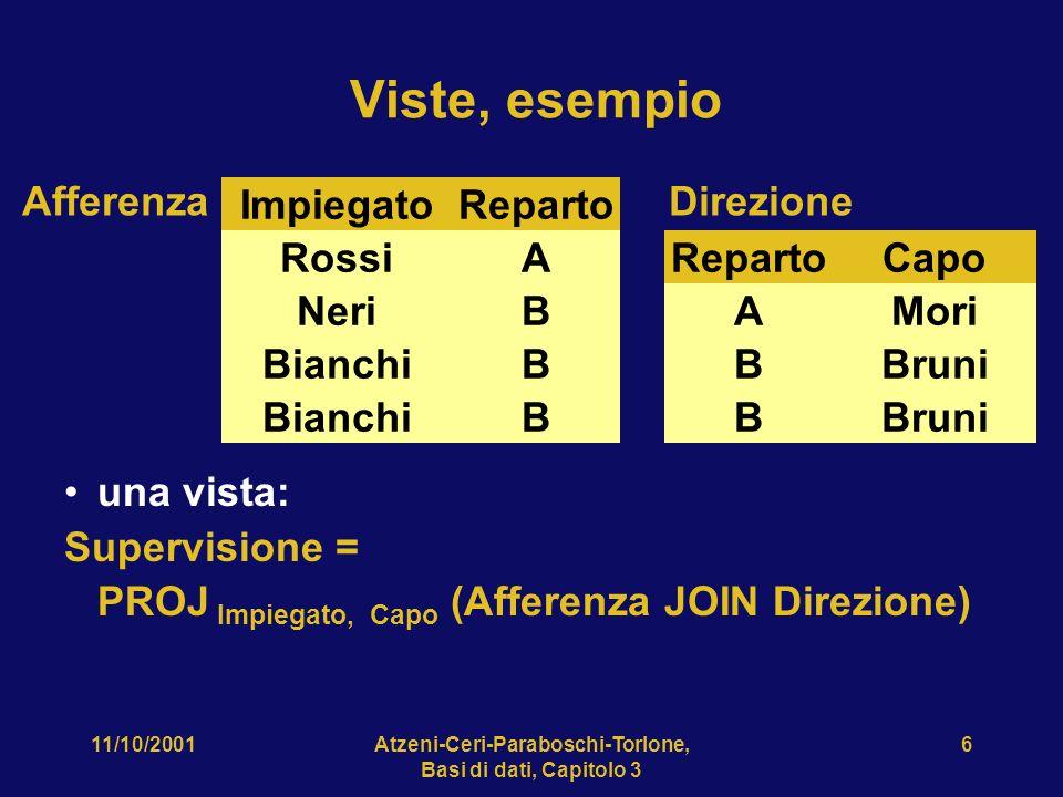 11/10/2001Atzeni-Ceri-Paraboschi-Torlone, Basi di dati, Capitolo 3 47 Esempio 6 Per ogni impiegato, trovare tutti i superiori.