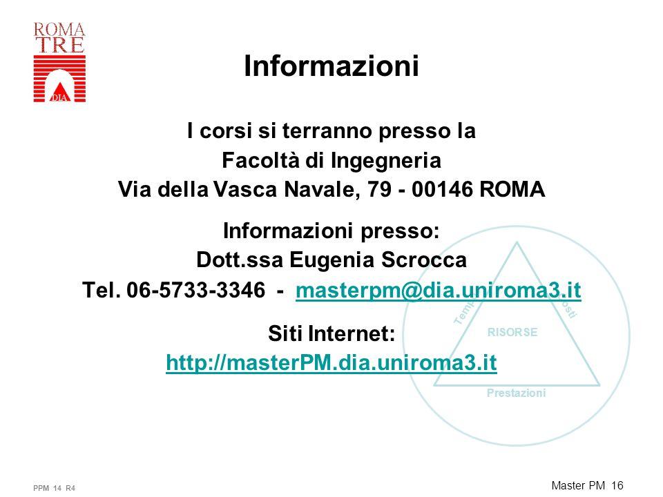 Prestazioni Tempo Costi RISORSE Master PM 16 Informazioni I corsi si terranno presso la Facoltà di Ingegneria Via della Vasca Navale, 79 - 00146 ROMA Informazioni presso: Dott.ssa Eugenia Scrocca Tel.