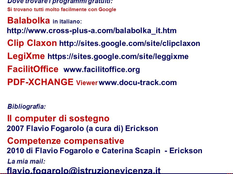 114 Flavio Fogarolo Dove trovare i programmi gratuiti: Si trovano tutti molto facilmente con Google Balabolka in italiano: http://www.cross-plus-a.com/balabolka_it.htm Clip Claxon http://sites.google.com/site/clipclaxon LegiXme https://sites.google.com/site/leggixme FacilitOffice www.facilitoffice.org PDF-XCHANGE Viewer www.docu-track.com Bibliografia: Il computer di sostegno 2007 Flavio Fogarolo (a cura di) Erickson Competenze compensative 2010 di Flavio Fogarolo e Caterina Scapin - Erickson La mia mail: flavio.fogarolo@istruzionevicenza.it