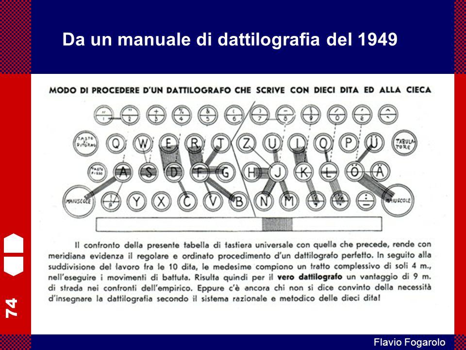 74 Flavio Fogarolo Da un manuale di dattilografia del 1949