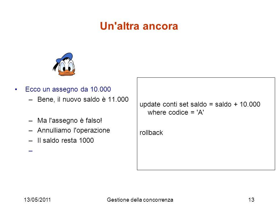 Un'altra ancora Ecco un assegno da 10.000 –Bene, il nuovo saldo è 11.000 –Ma l'assegno è falso! –Annulliamo l'operazione –Il saldo resta 1000 – 13/05/