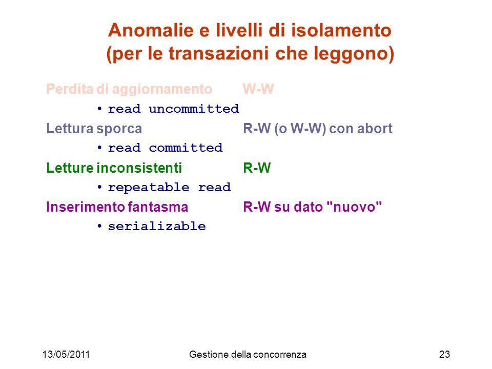 13/05/2011Gestione della concorrenza23 Anomalie e livelli di isolamento (per le transazioni che leggono) Perdita di aggiornamento W-W read uncommitted
