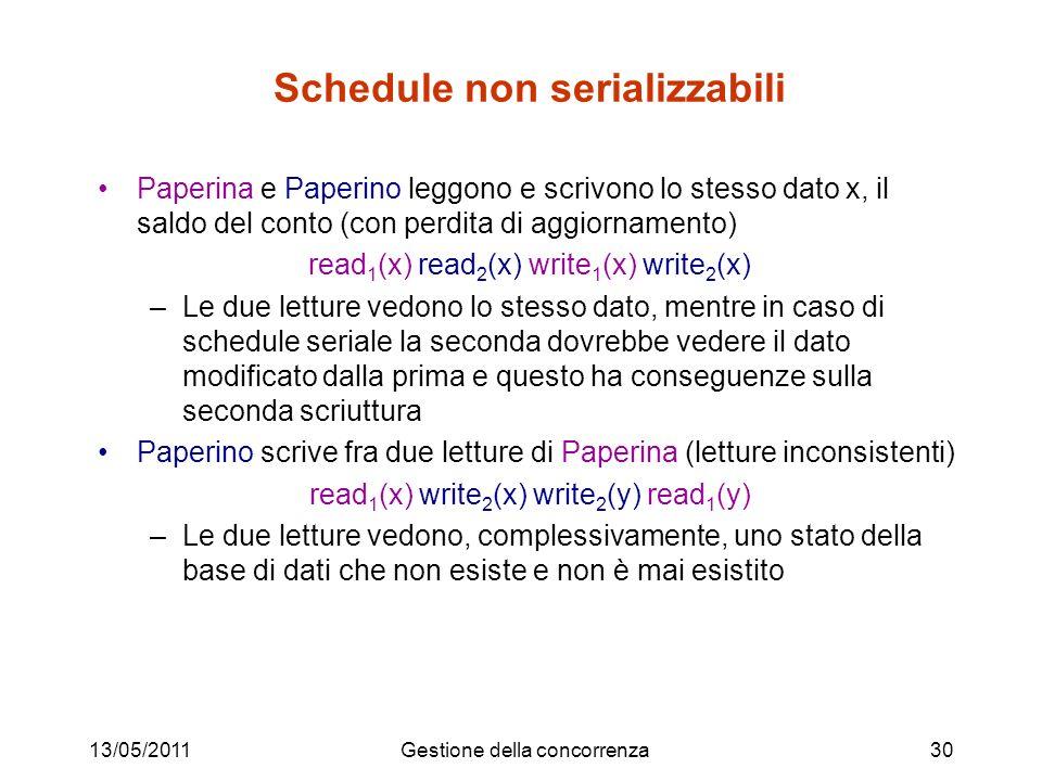 13/05/2011Gestione della concorrenza30 Schedule non serializzabili Paperina e Paperino leggono e scrivono lo stesso dato x, il saldo del conto (con perdita di aggiornamento) read 1 (x) read 2 (x) write 1 (x) write 2 (x) –Le due letture vedono lo stesso dato, mentre in caso di schedule seriale la seconda dovrebbe vedere il dato modificato dalla prima e questo ha conseguenze sulla seconda scriuttura Paperino scrive fra due letture di Paperina (letture inconsistenti) read 1 (x) write 2 (x) write 2 (y) read 1 (y) –Le due letture vedono, complessivamente, uno stato della base di dati che non esiste e non è mai esistito
