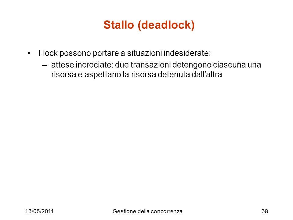 13/05/2011Gestione della concorrenza38 Stallo (deadlock) I lock possono portare a situazioni indesiderate: –attese incrociate: due transazioni detengono ciascuna una risorsa e aspettano la risorsa detenuta dall altra