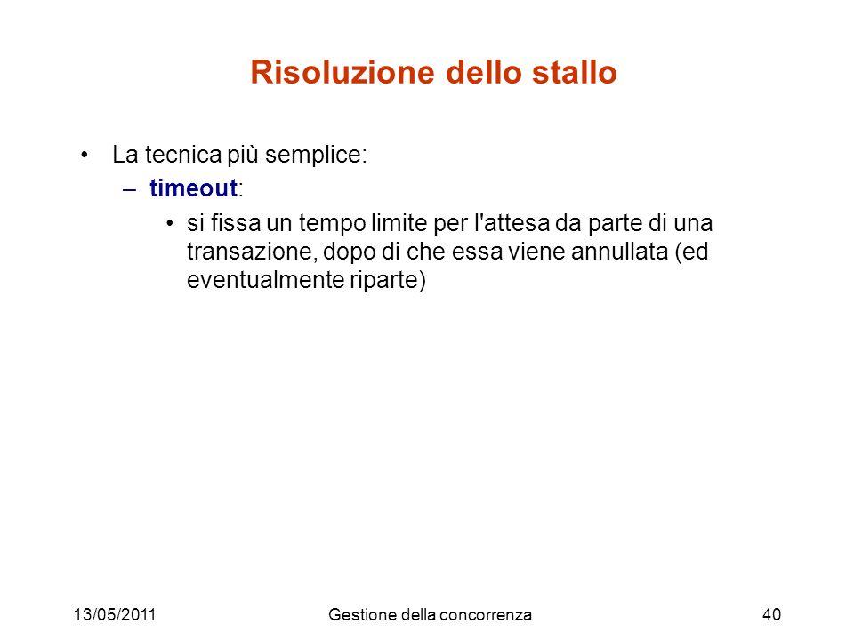 13/05/2011Gestione della concorrenza40 Risoluzione dello stallo La tecnica più semplice: –timeout: si fissa un tempo limite per l'attesa da parte di u