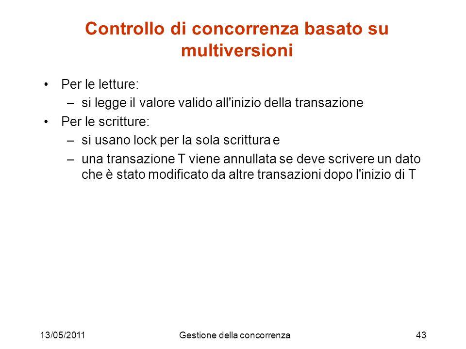 13/05/2011Gestione della concorrenza43 Controllo di concorrenza basato su multiversioni Per le letture: –si legge il valore valido all'inizio della tr