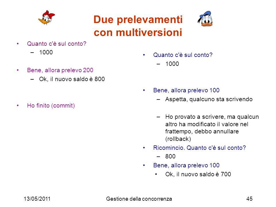 Due prelevamenti con multiversioni Quanto c è sul conto.