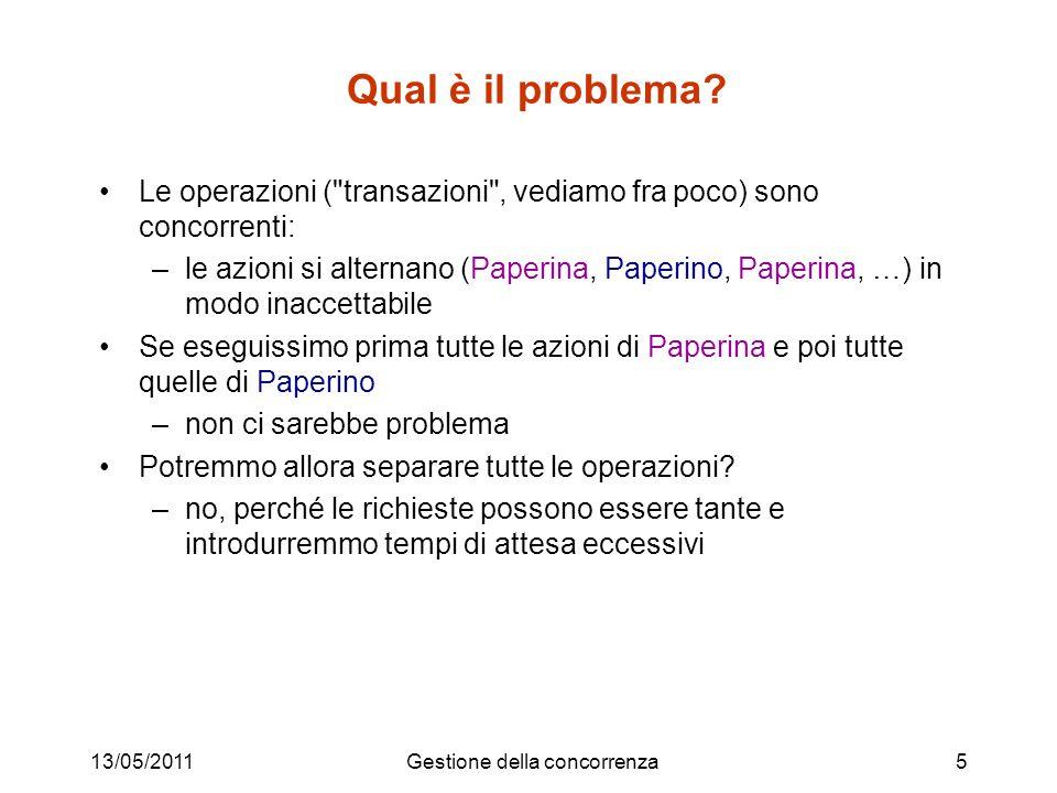 13/05/2011Gestione della concorrenza5 Qual è il problema? Le operazioni (