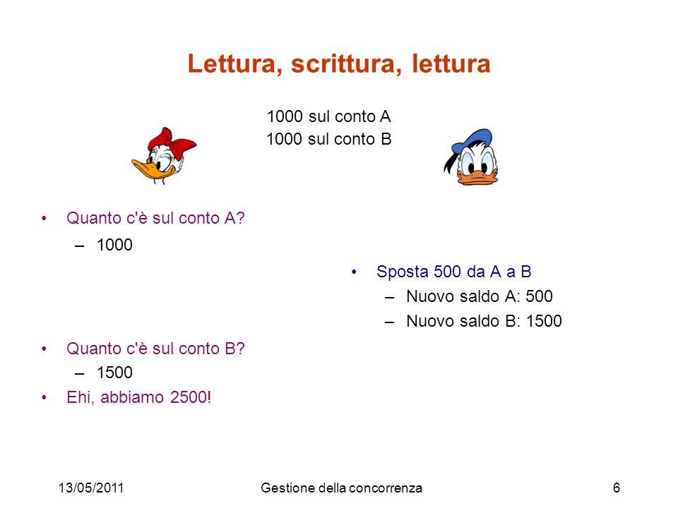 Lettura, scrittura, lettura Quanto c'è sul conto A? –1000 Quanto c'è sul conto B? –1500 Ehi, abbiamo 2500! Sposta 500 da A a B –Nuovo saldo A: 500 –Nu