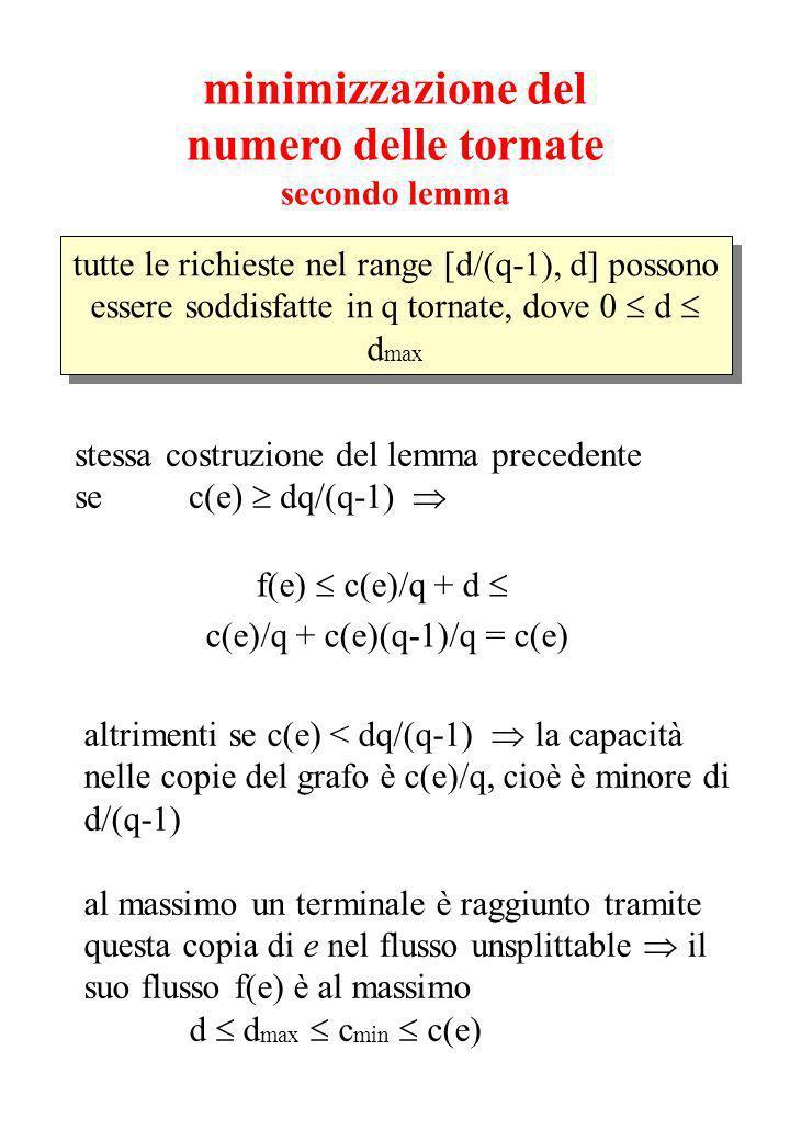 minimizzazione del numero delle tornate secondo lemma tutte le richieste nel range [d/(q-1), d] possono essere soddisfatte in q tornate, dove 0 d d max stessa costruzione del lemma precedente se c(e) dq/(q-1) f(e) c(e)/q + d c(e)/q + c(e)(q-1)/q = c(e) altrimenti se c(e) < dq/(q-1) la capacità nelle copie del grafo è c(e)/q, cioè è minore di d/(q-1) al massimo un terminale è raggiunto tramite questa copia di e nel flusso unsplittable il suo flusso f(e) è al massimo d d max c min c(e)