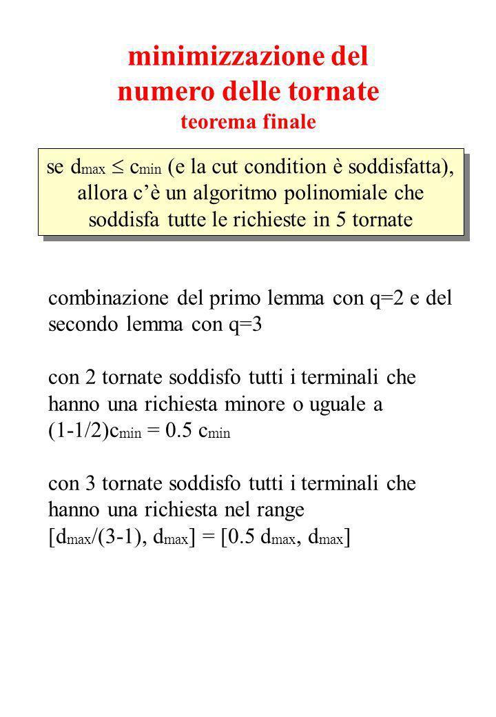 minimizzazione del numero delle tornate teorema finale se d max c min (e la cut condition è soddisfatta), allora cè un algoritmo polinomiale che soddisfa tutte le richieste in 5 tornate combinazione del primo lemma con q=2 e del secondo lemma con q=3 con 2 tornate soddisfo tutti i terminali che hanno una richiesta minore o uguale a (1-1/2)c min = 0.5 c min con 3 tornate soddisfo tutti i terminali che hanno una richiesta nel range [d max /(3-1), d max ] = [0.5 d max, d max ]