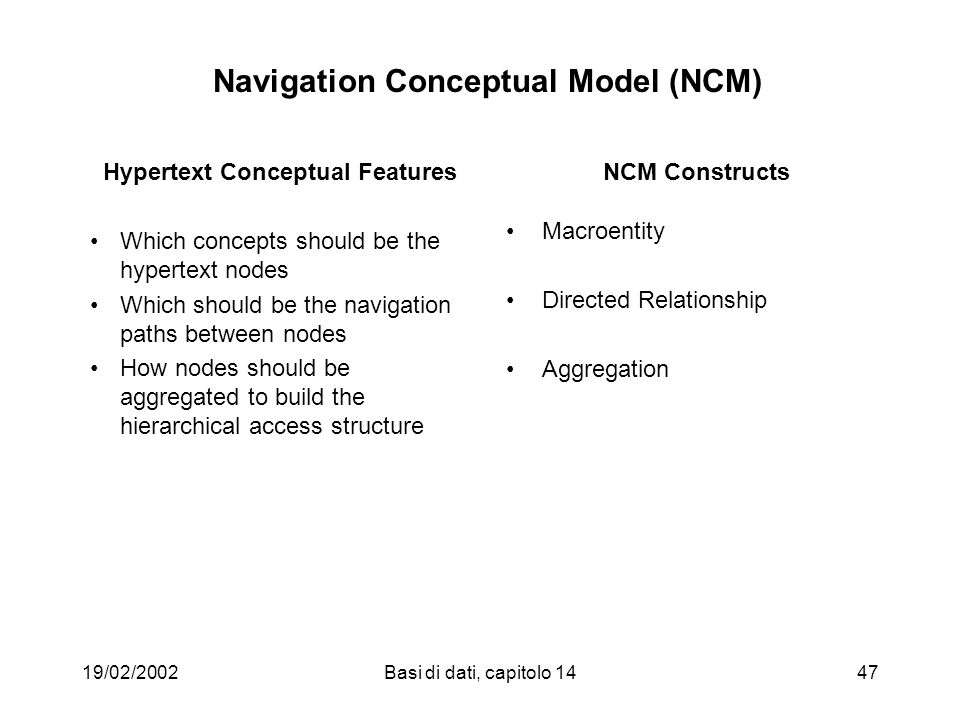 19/02/2002Basi di dati, capitolo 1447 Navigation Conceptual Model (NCM) Hypertext Conceptual Features Which concepts should be the hypertext nodes Whi