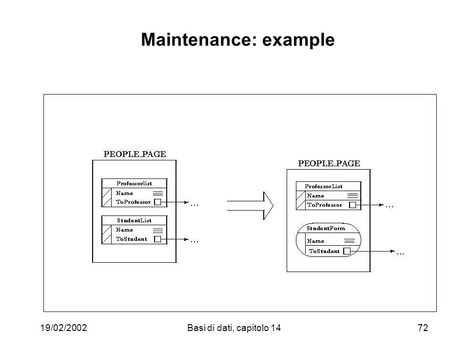 19/02/2002Basi di dati, capitolo 1472 Maintenance: example