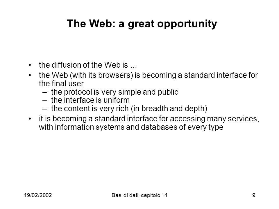 19/02/2002Basi di dati, capitolo 1430 A Web page