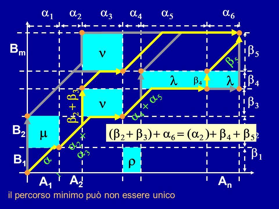 B1B1 B2B2 AnAn BmBm A1A1 A2A2 il percorso minimo può non essere unico