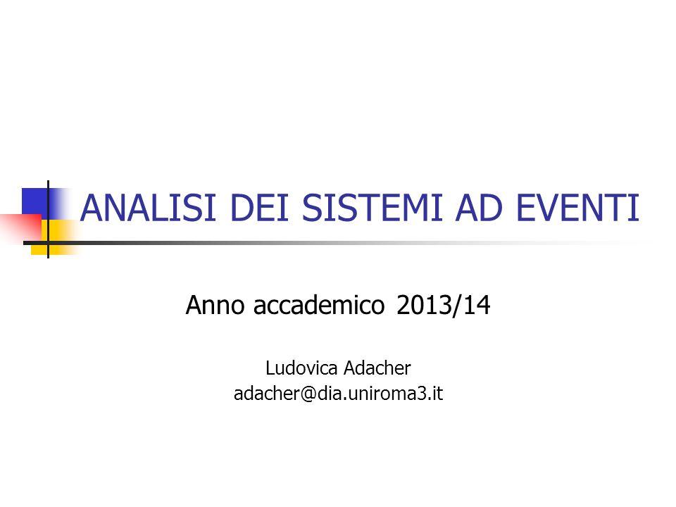ANALISI DEI SISTEMI AD EVENTI Anno accademico 2013/14 Ludovica Adacher adacher@dia.uniroma3.it