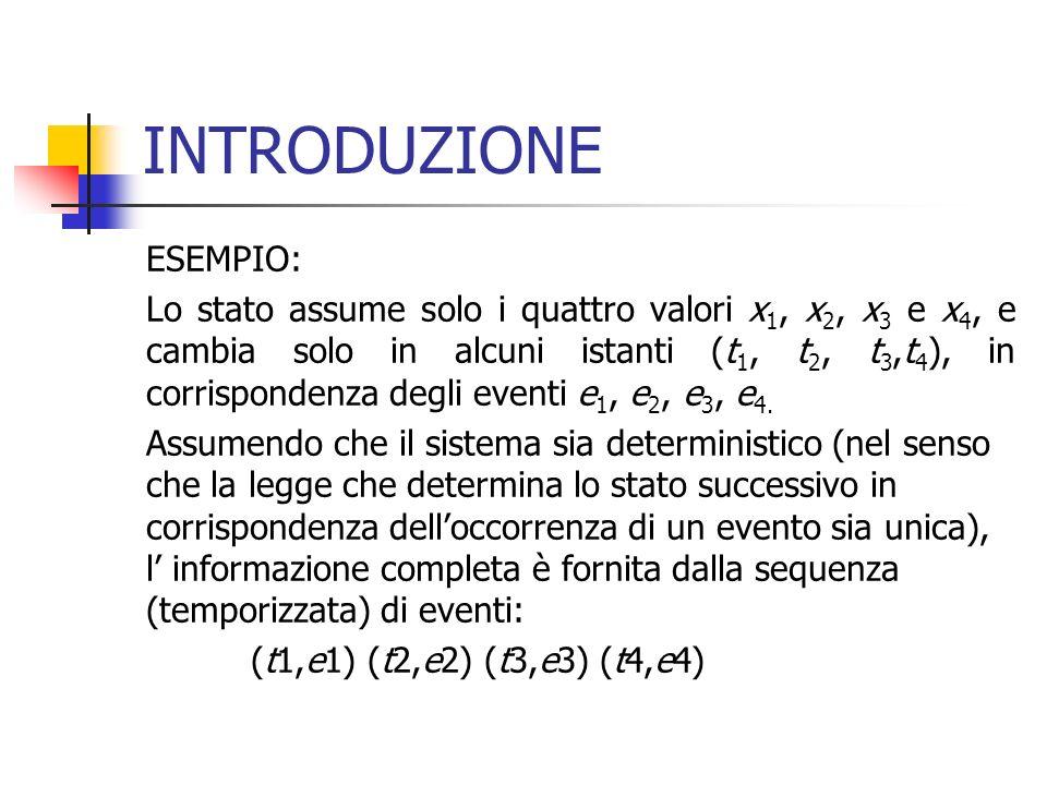 INTRODUZIONE ESEMPIO: Lo stato assume solo i quattro valori x 1, x 2, x 3 e x 4, e cambia solo in alcuni istanti (t 1, t 2, t 3,t 4 ), in corrisponden