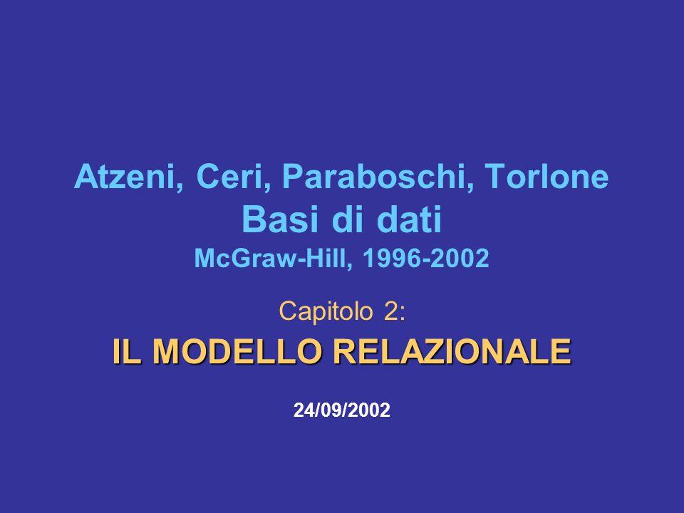 Atzeni, Ceri, Paraboschi, Torlone Basi di dati McGraw-Hill, 1996-2002 Capitolo 2: IL MODELLO RELAZIONALE 24/09/2002