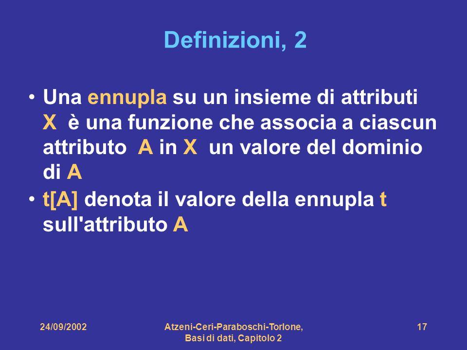 24/09/2002Atzeni-Ceri-Paraboschi-Torlone, Basi di dati, Capitolo 2 17 Definizioni, 2 Una ennupla su un insieme di attributi X è una funzione che assoc