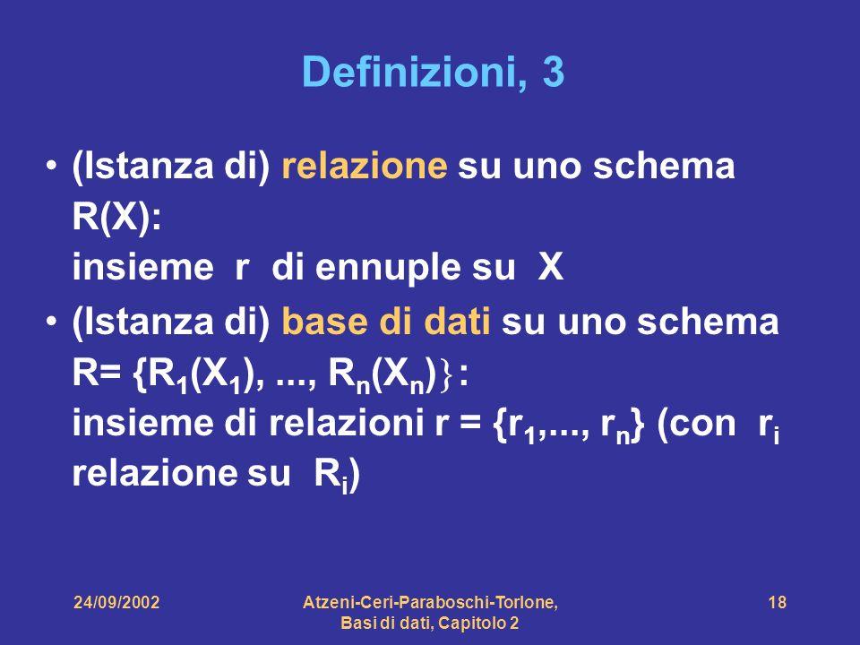 24/09/2002Atzeni-Ceri-Paraboschi-Torlone, Basi di dati, Capitolo 2 18 Definizioni, 3 (Istanza di) relazione su uno schema R(X): insieme r di ennuple s