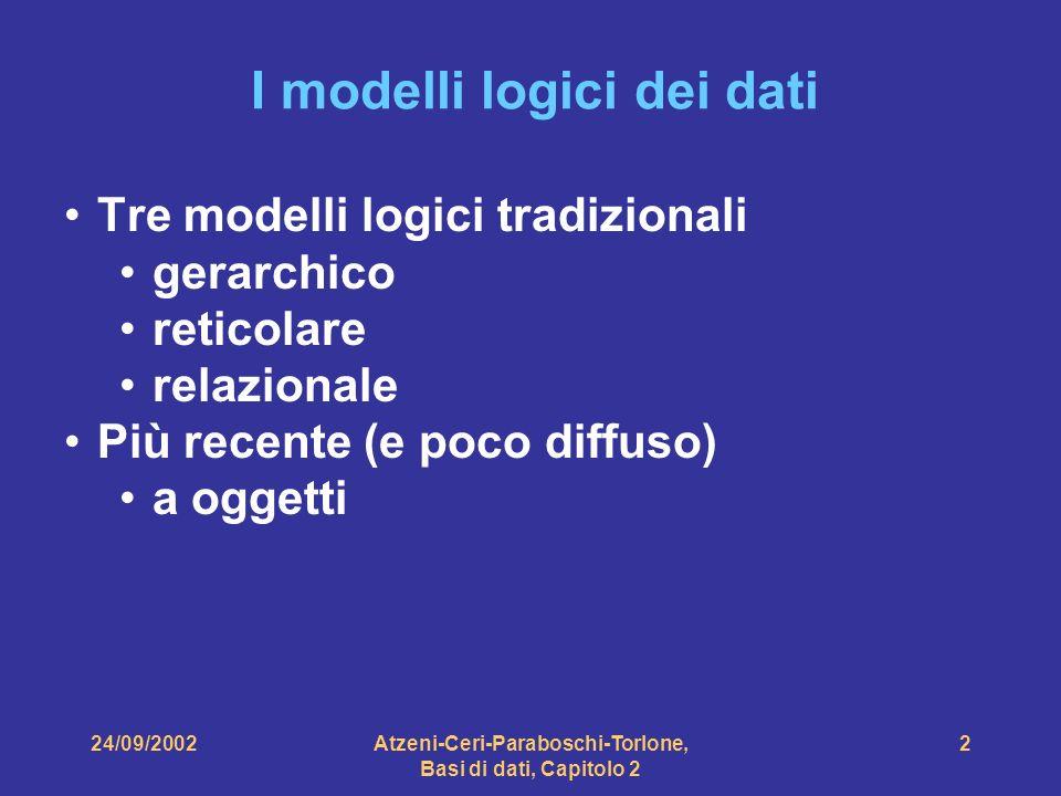 Atzeni-Ceri-Paraboschi-Torlone, Basi di dati, Capitolo 2 2 I modelli logici dei dati Tre modelli logici tradizionali gerarchico reticolare relazionale