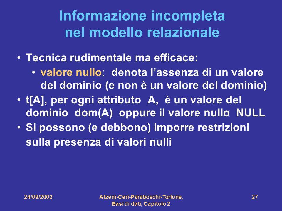 24/09/2002Atzeni-Ceri-Paraboschi-Torlone, Basi di dati, Capitolo 2 27 Informazione incompleta nel modello relazionale Tecnica rudimentale ma efficace: