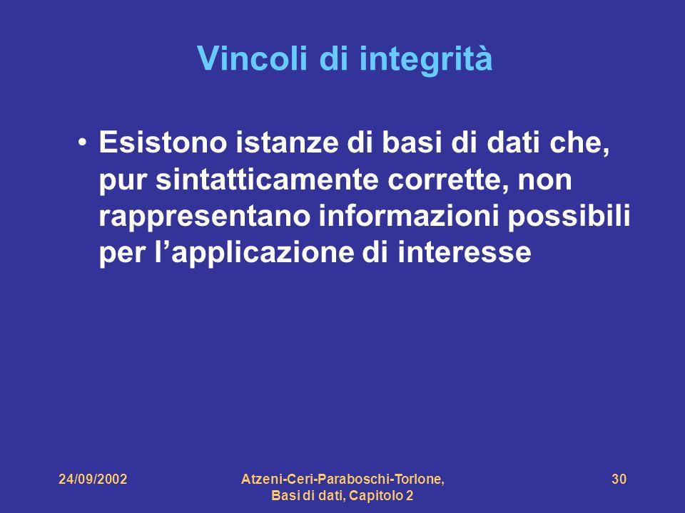 24/09/2002Atzeni-Ceri-Paraboschi-Torlone, Basi di dati, Capitolo 2 30 Vincoli di integrità Esistono istanze di basi di dati che, pur sintatticamente c