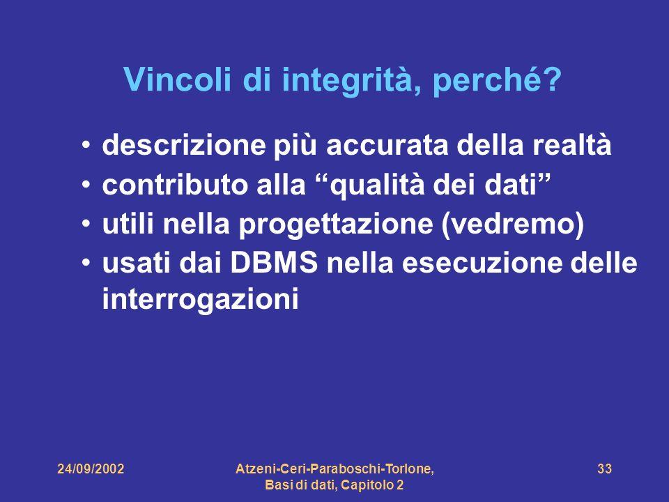 24/09/2002Atzeni-Ceri-Paraboschi-Torlone, Basi di dati, Capitolo 2 33 descrizione più accurata della realtà contributo alla qualità dei dati utili nel