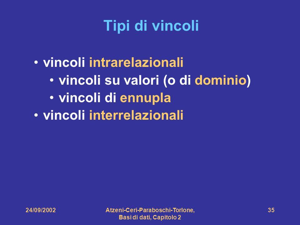 24/09/2002Atzeni-Ceri-Paraboschi-Torlone, Basi di dati, Capitolo 2 35 Tipi di vincoli vincoli intrarelazionali vincoli su valori (o di dominio) vincol