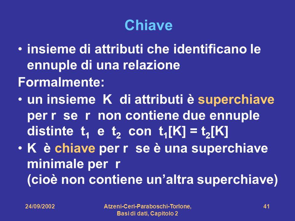 24/09/2002Atzeni-Ceri-Paraboschi-Torlone, Basi di dati, Capitolo 2 41 Chiave insieme di attributi che identificano le ennuple di una relazione Formalm
