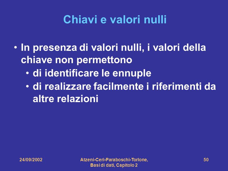 24/09/2002Atzeni-Ceri-Paraboschi-Torlone, Basi di dati, Capitolo 2 50 Chiavi e valori nulli In presenza di valori nulli, i valori della chiave non per