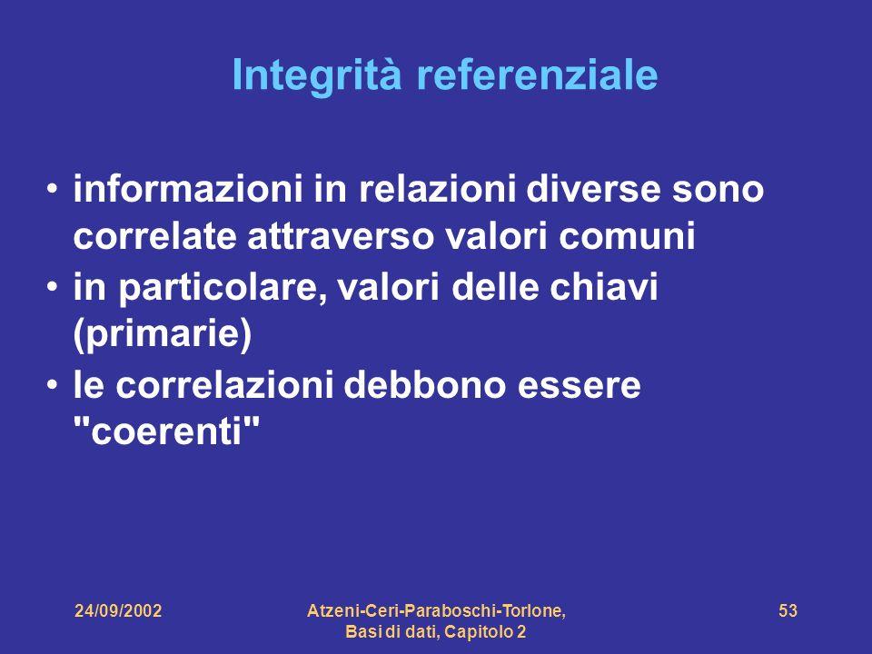 24/09/2002Atzeni-Ceri-Paraboschi-Torlone, Basi di dati, Capitolo 2 53 informazioni in relazioni diverse sono correlate attraverso valori comuni in par